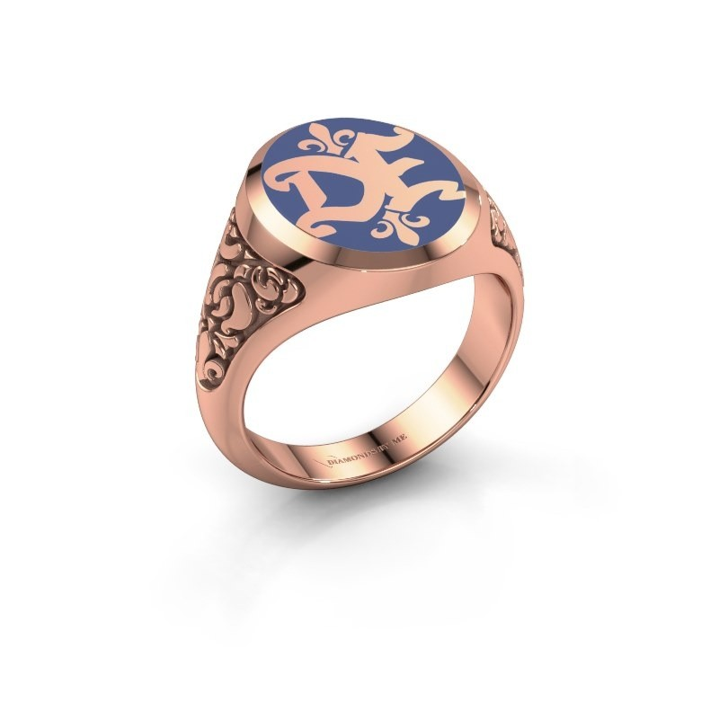 Monogram ring Brian Emaille 375 rosé goud blauwe emaille