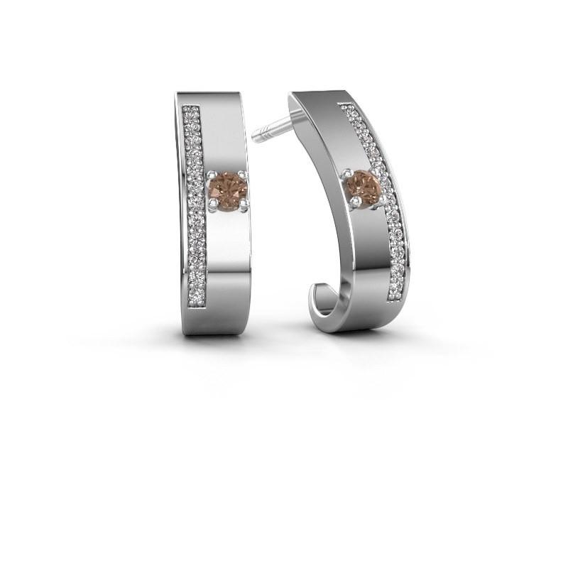Oorbellen Vick1 925 zilver bruine diamant 0.230 crt