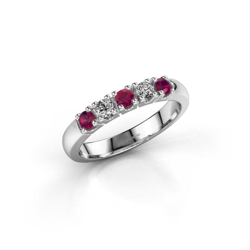 Engagement ring Rianne 5 925 silver rhodolite 2.7 mm