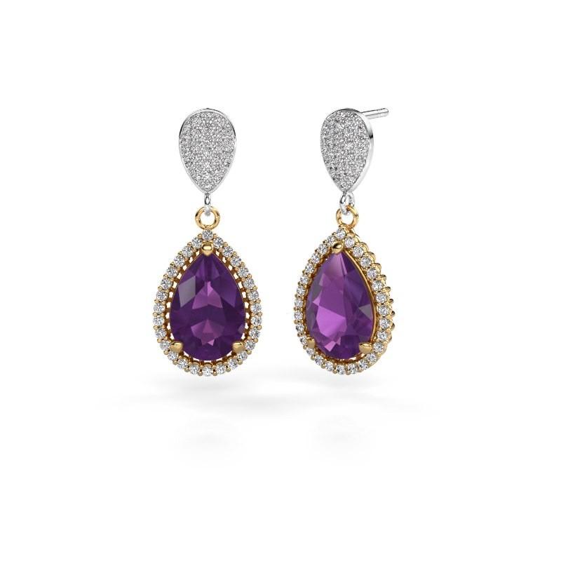 Drop earrings Tilly per 2 585 gold amethyst 12x8 mm