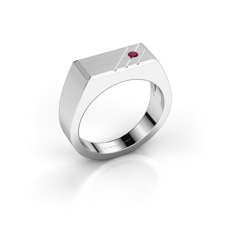 Men's ring Dree 5 950 platinum rhodolite 2.4 mm