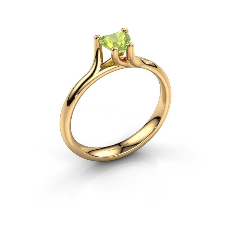 Verlobungsring Dewi Heart 375 Gold Peridot 5 mm