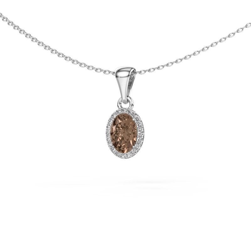 Hanger Seline ovl 950 platina bruine diamant 0.90 crt