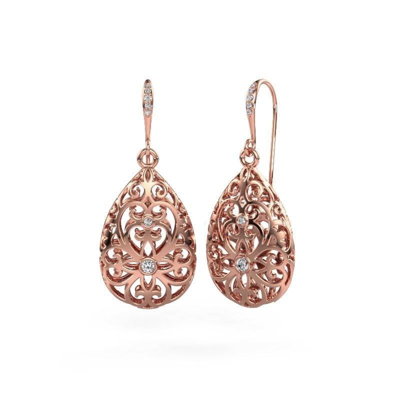 Drop earrings Idalia 2 375 rose gold diamond 0.105 crt