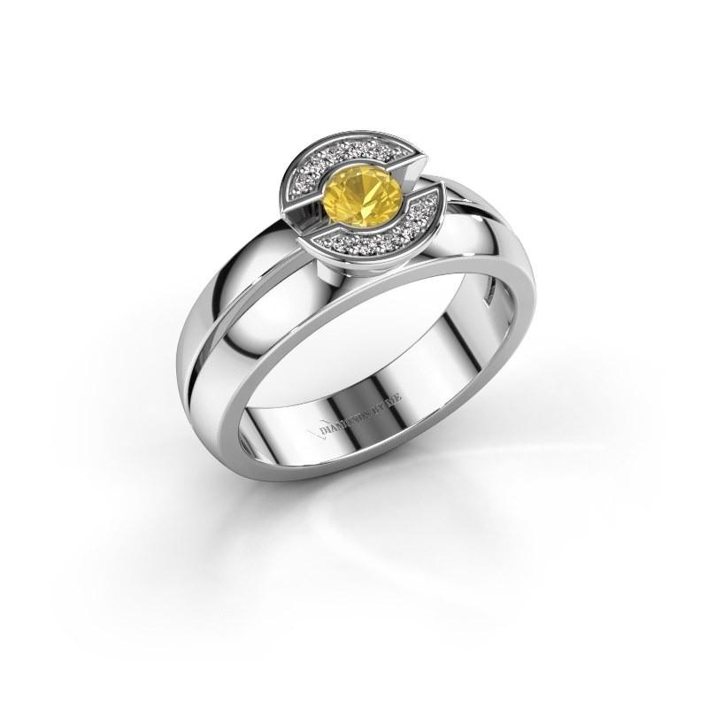 Ring Jeanet 1 585 witgoud gele saffier 4 mm