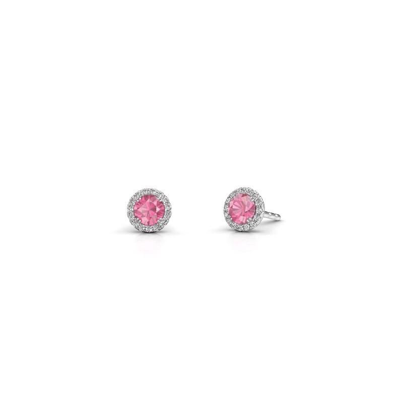 Oorbellen Seline rnd 585 witgoud roze saffier 4 mm