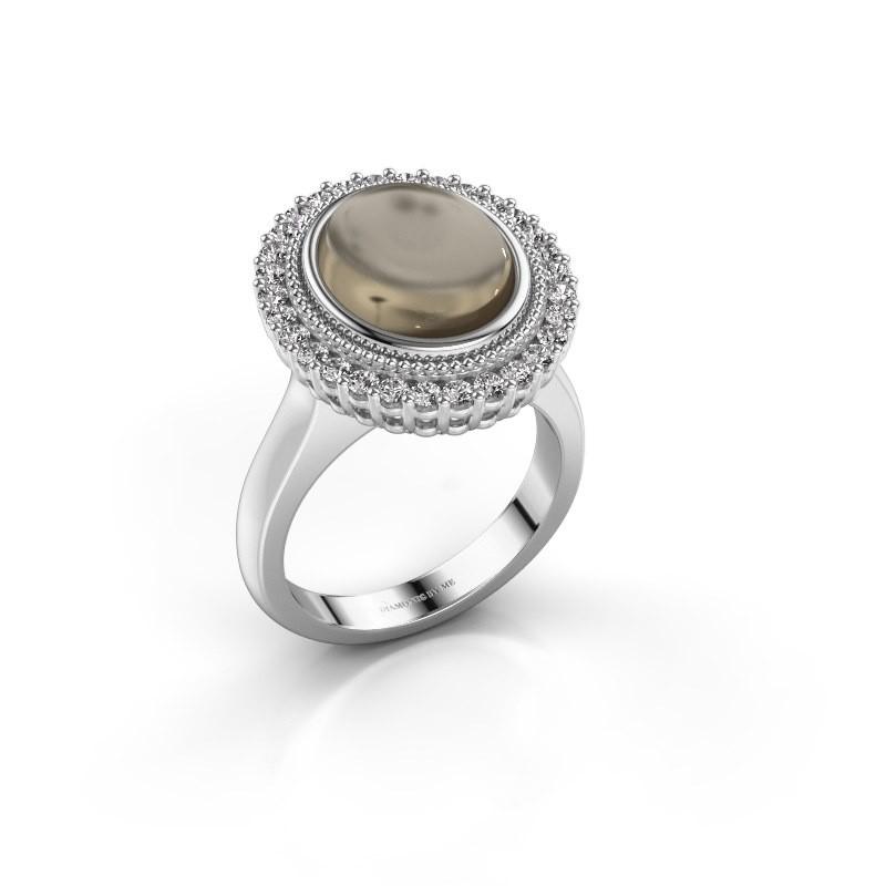 Ring Mila 585 white gold smokey quartz 12x10 mm