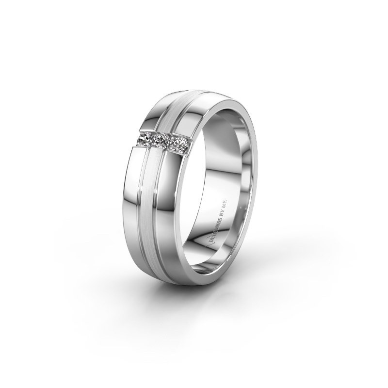 Wedding ring WH0426L26A 585 white gold zirconia ±6x1.7 mm