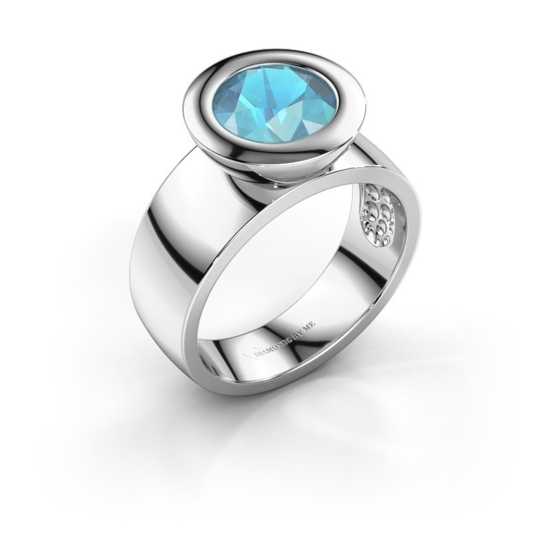 Ring Maxime 925 silver blue topaz 8 mm