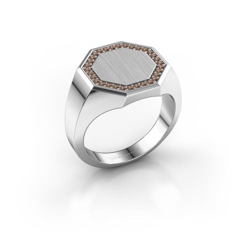 Men's ring Floris Octa 3 585 white gold brown diamond 0.24 crt