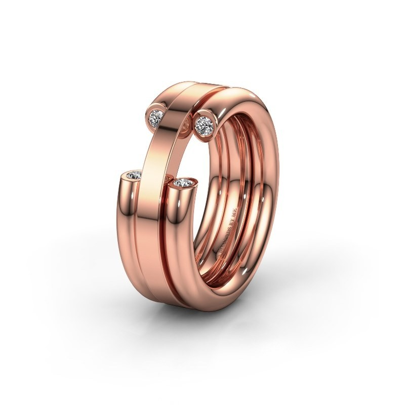 Wedding ring WH6018L 585 rose gold lab-grown diamond ±8x3 mm