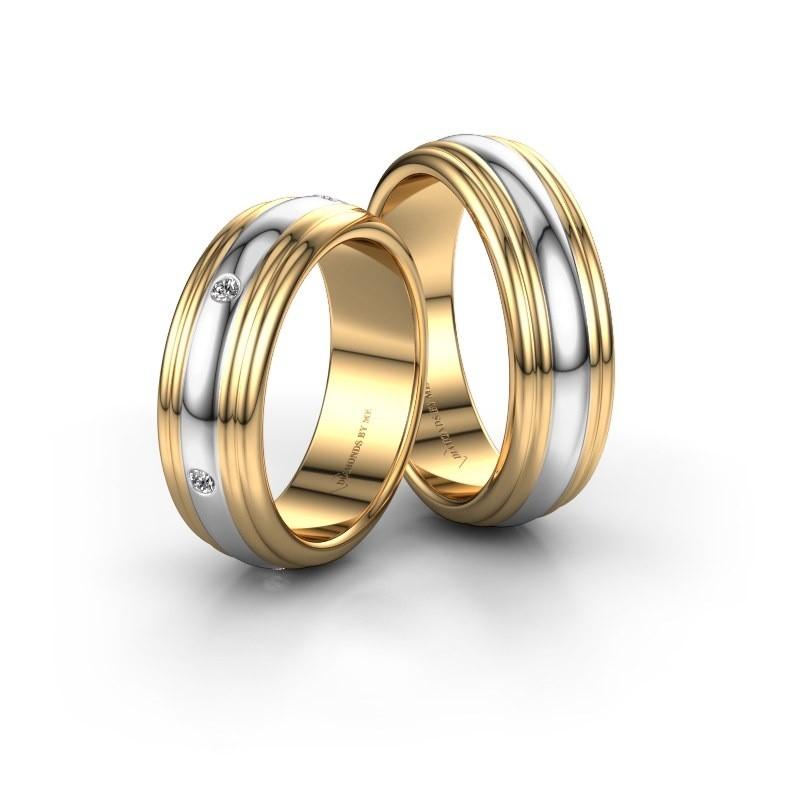 Trouwringen set WH2236LM ±6x2 mm 14 karaat goud diamant 0.02 crt