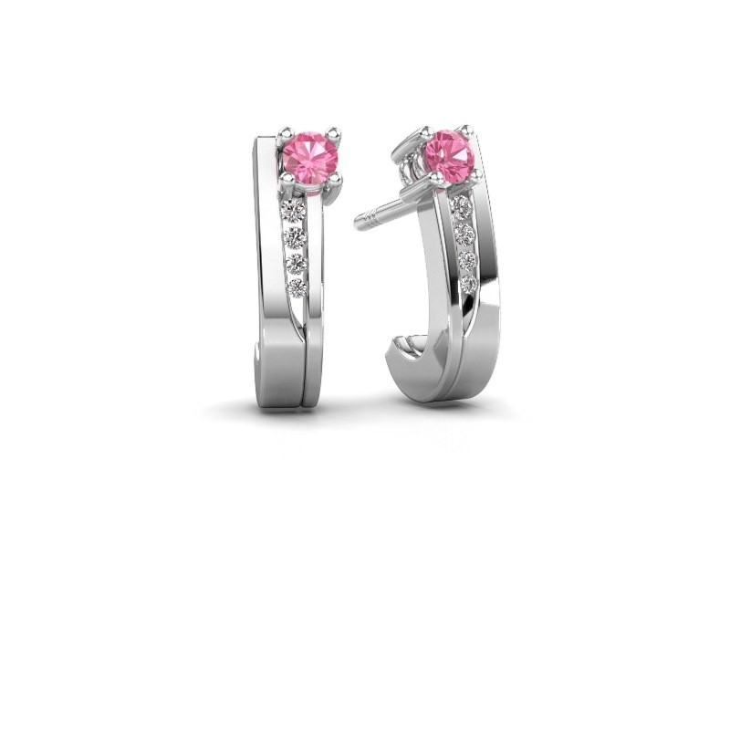 Oorbellen Jewell 950 platina roze saffier 2.7 mm