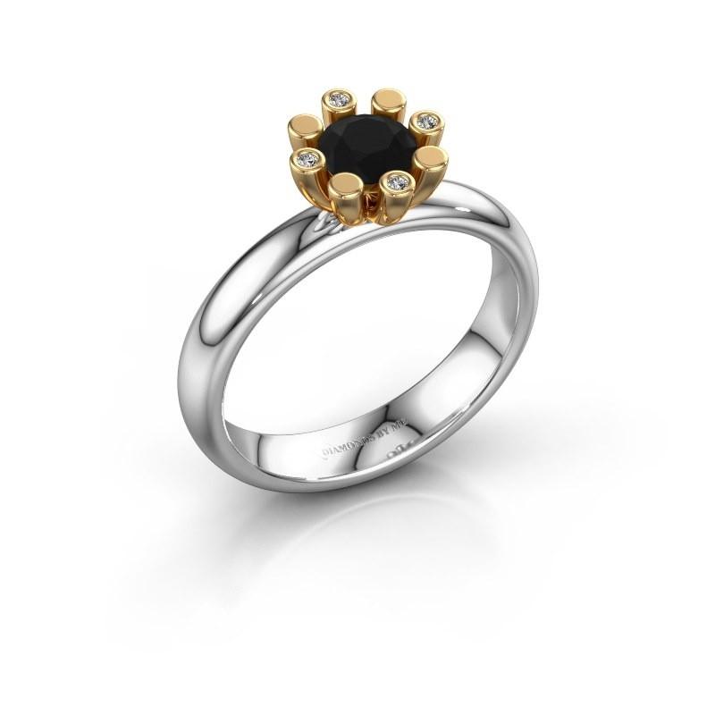 Stapelring Carola 2 585 witgoud zwarte diamant 0.62 crt