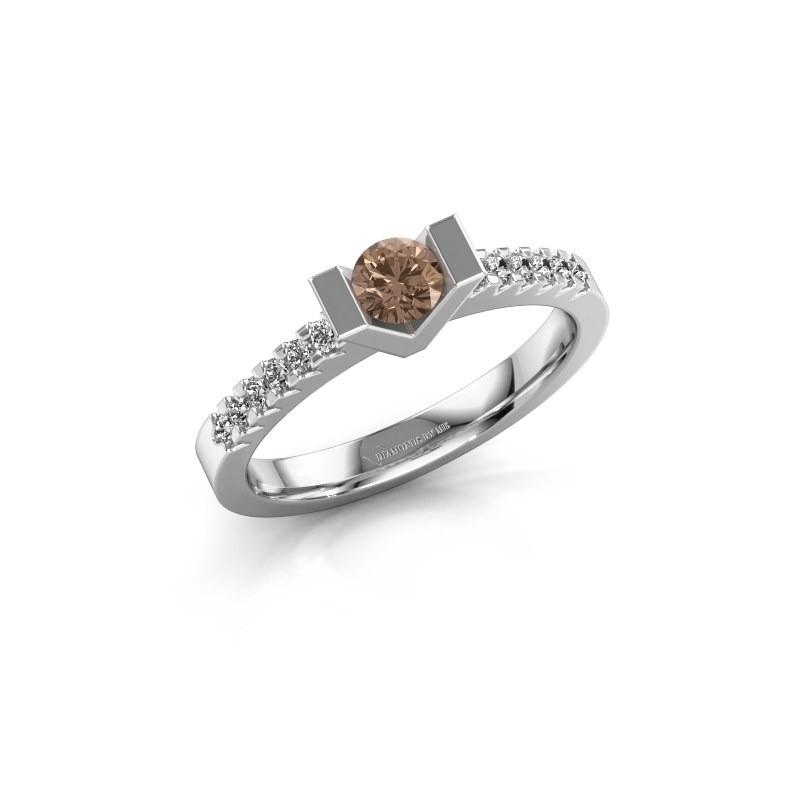 Verlovingsring Sherley 2 925 zilver bruine diamant 0.43 crt