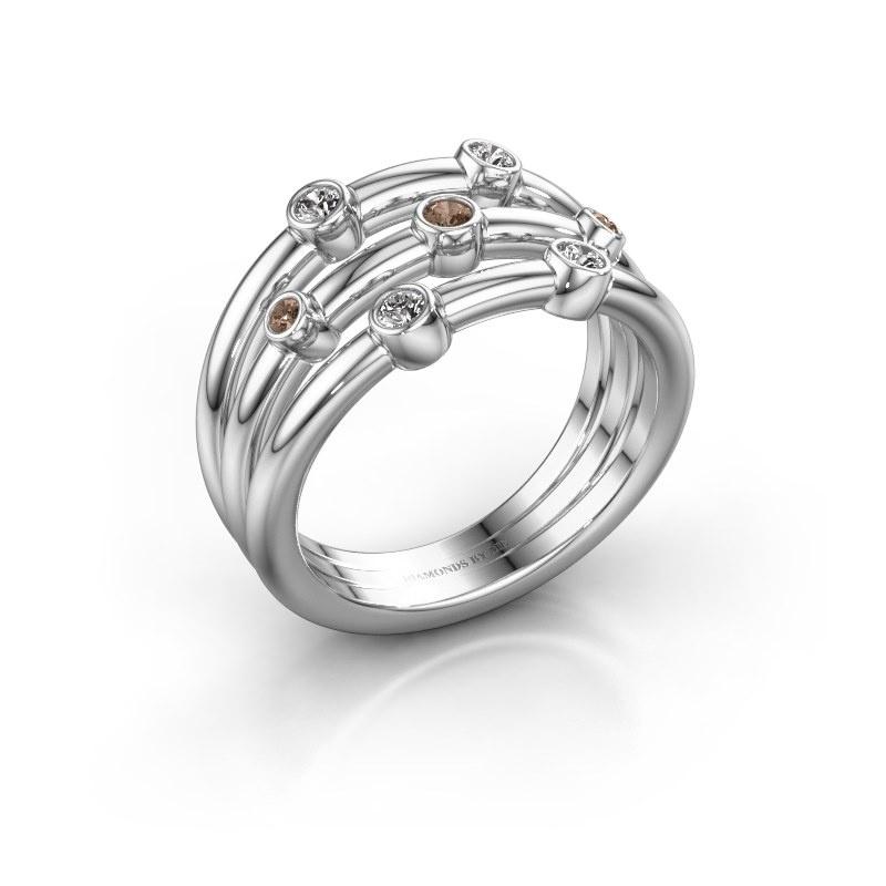 Bague Chloe 925 argent diamant brun 0.18 crt