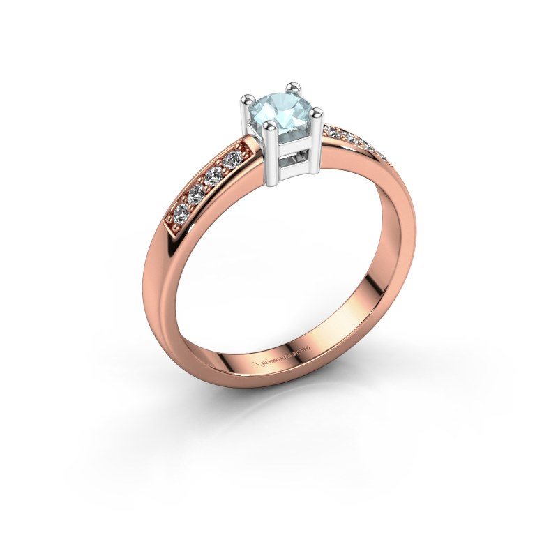 Engagement ring Eline 2 585 rose gold aquamarine 3.7 mm