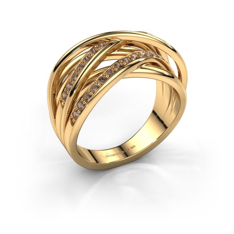 Bague Fem 2 585 or jaune diamant brun 0.450 crt