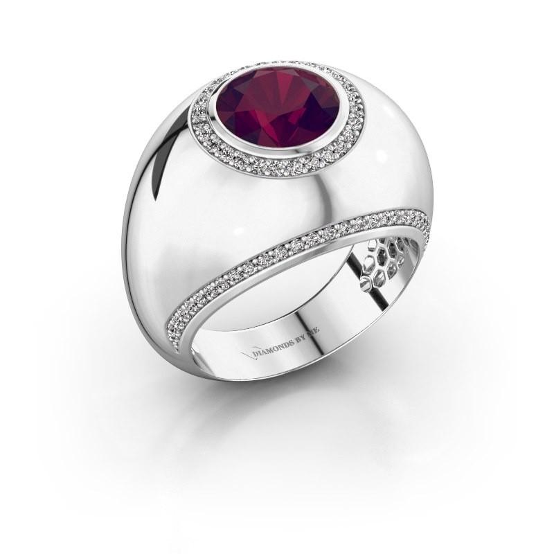 Ring Roxann 925 zilver rhodoliet 8 mm
