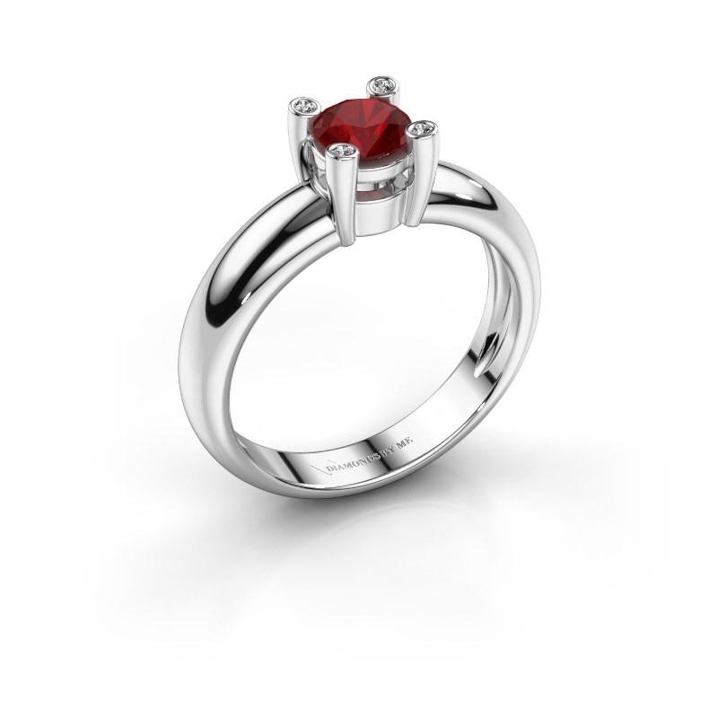 Ring Fleur 585 witgoud robijn 4.7 mm