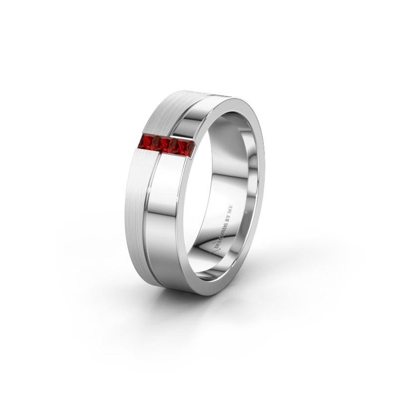 Wedding ring WH0906L16A 925 silver garnet ±6x1.7 mm