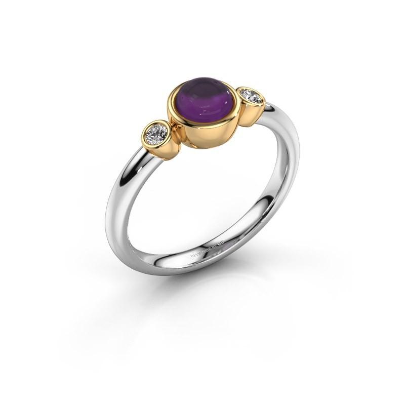 Ring Muriel 585 witgoud amethist 5 mm
