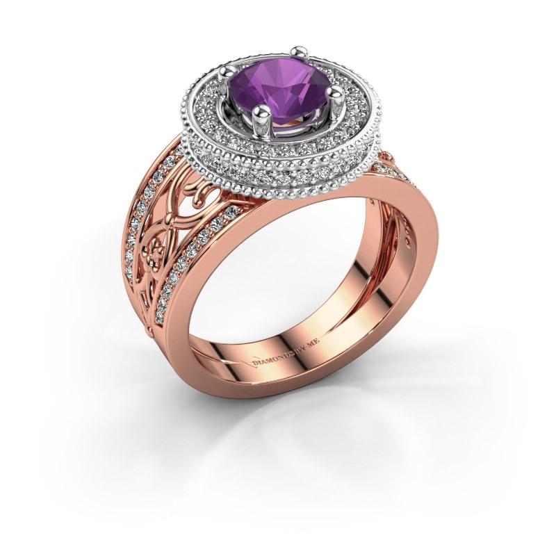 Ring Joy 585 rosé goud amethist 6.5 mm