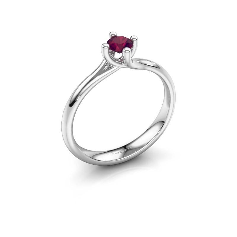 Engagement ring Dewi Round 925 silver rhodolite 4 mm