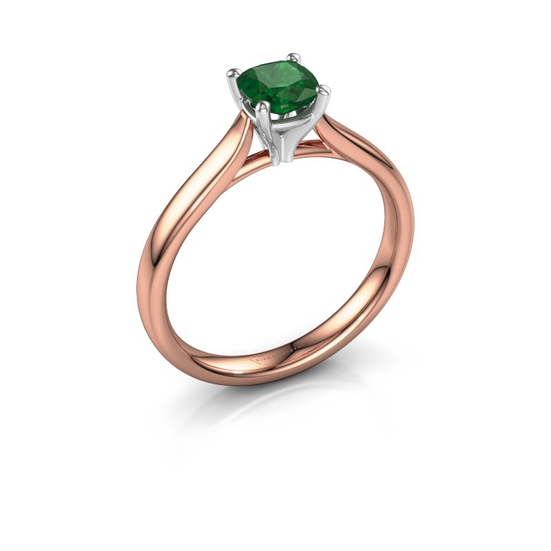 Verlovingsring Mignon cus 1 585 rosé goud smaragd 5 mm
