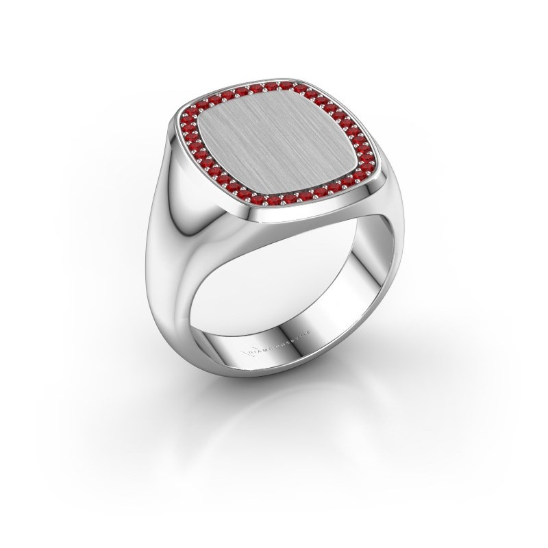Men's ring Floris Cushion 4 375 white gold ruby 1.2 mm