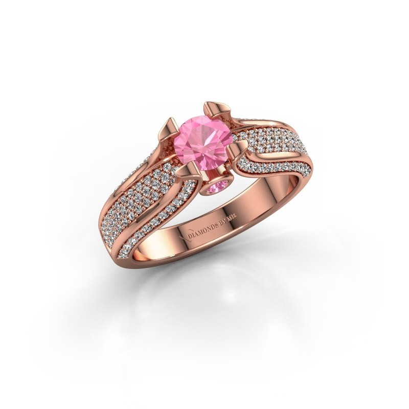 Verlovingsring Jeanne 2 375 rosé goud roze saffier 5 mm
