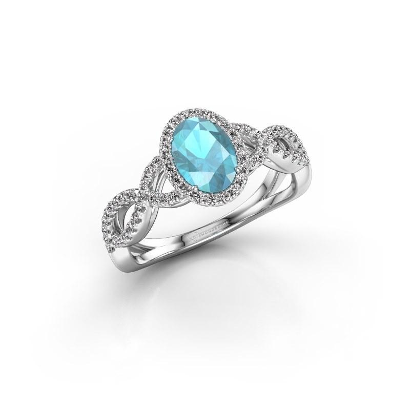Verlovingsring Dionne ovl 950 platina blauw topaas 7x5 mm
