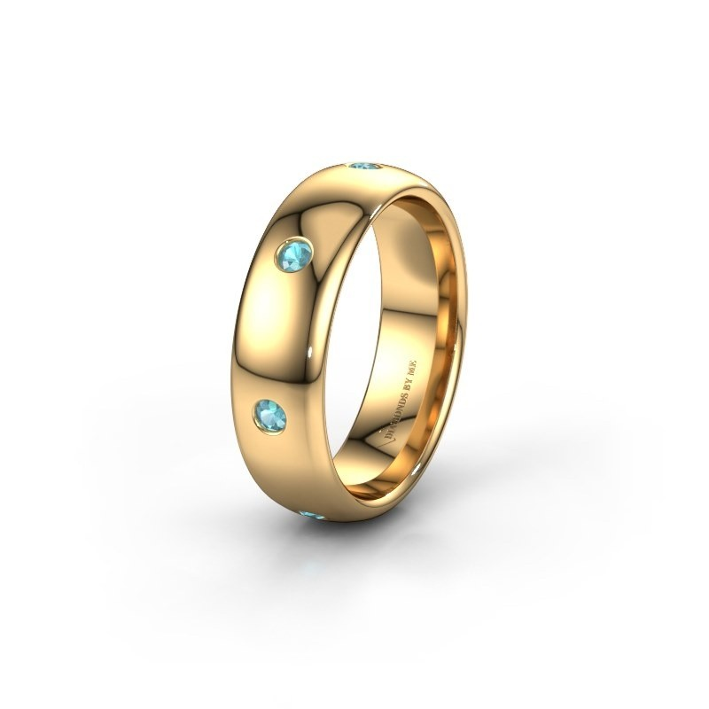 Wedding ring WH0105L36BP 375 gold blue topaz ±0.24x0.08 in