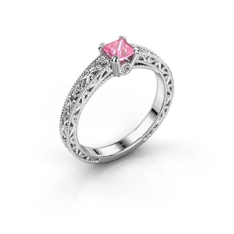 Verlovingsring Ardella 950 platina roze saffier 4 mm