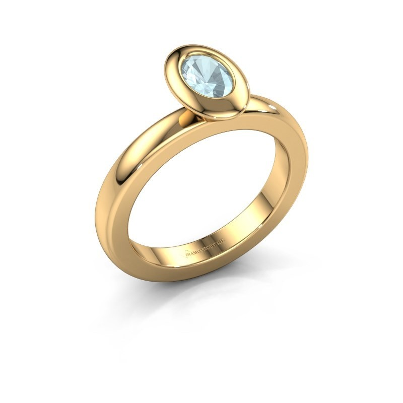 Stapelring Trudy Oval 585 goud aquamarijn 6x4 mm