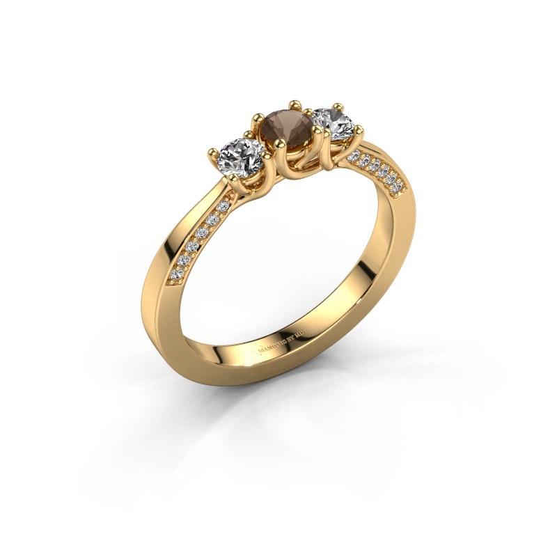 Verlobungsring Rivka 585 Gold Rauchquarz 3.4 mm