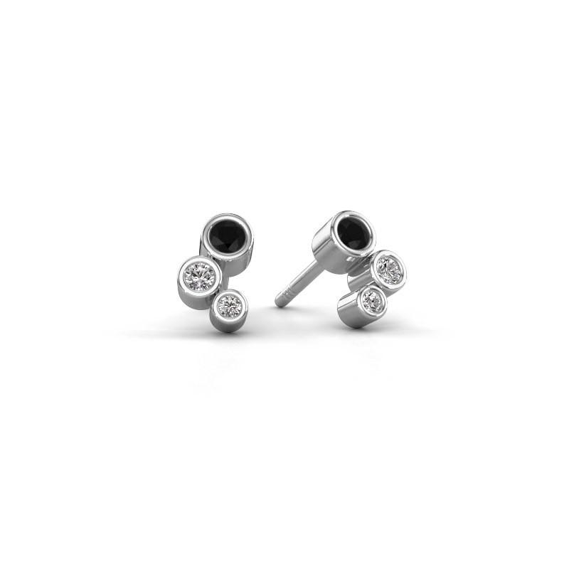 Oorstekers Marlys 925 zilver zwarte diamant 0.234 crt