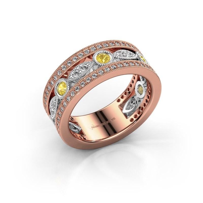 Ring Jessica 585 rosé goud gele saffier 2.5 mm