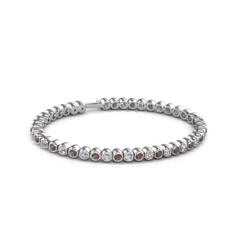 Tennisarmband Asley 585 witgoud rookkwarts 3 mm