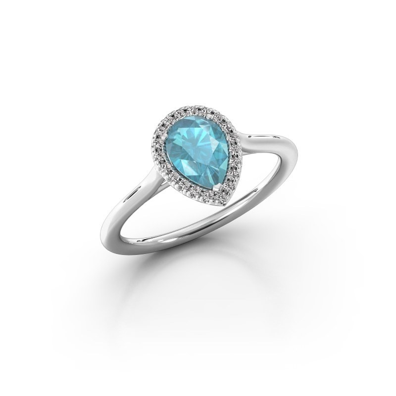 Engagement ring Monique 1 585 white gold blue topaz 7x5 mm
