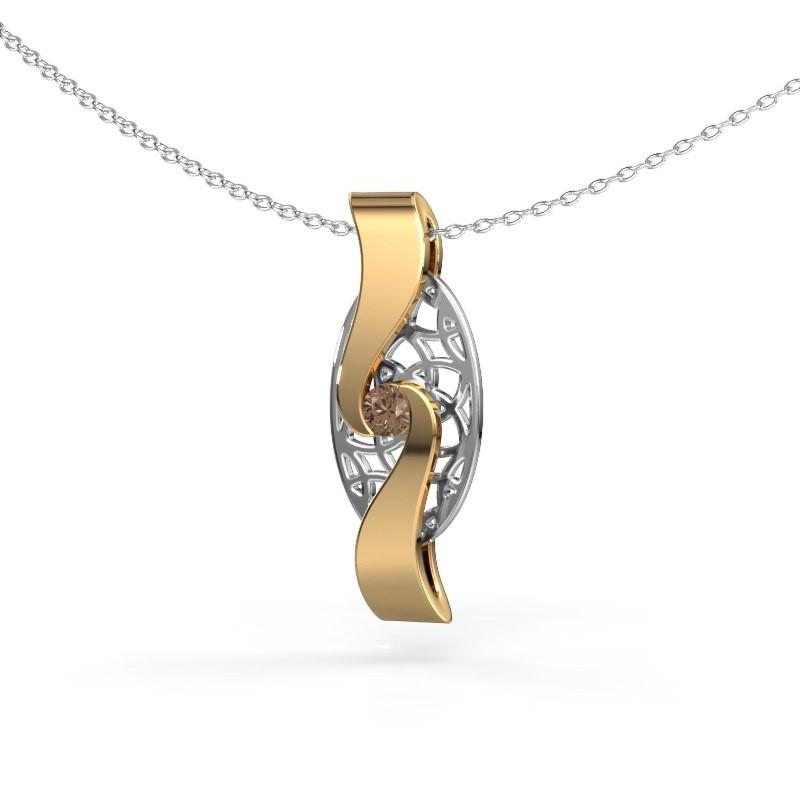Hanger Darleen 585 goud bruine diamant 0.10 crt