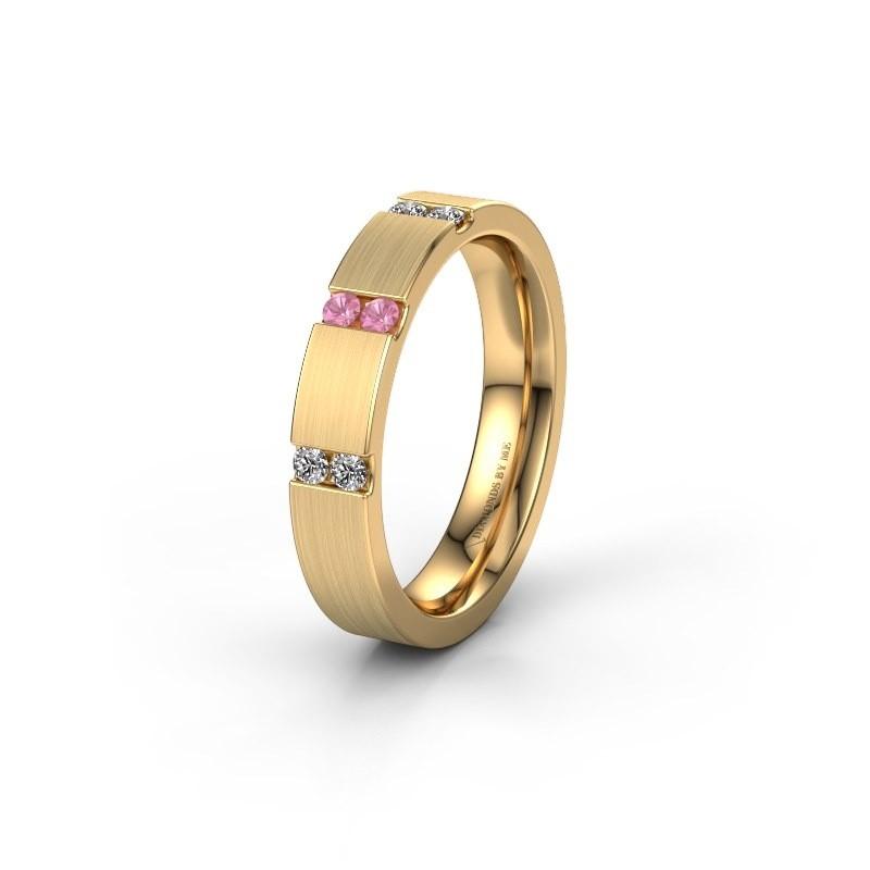 Trauring WH2133L14BM 375 Gold Pink Saphir ±4x2.2 mm