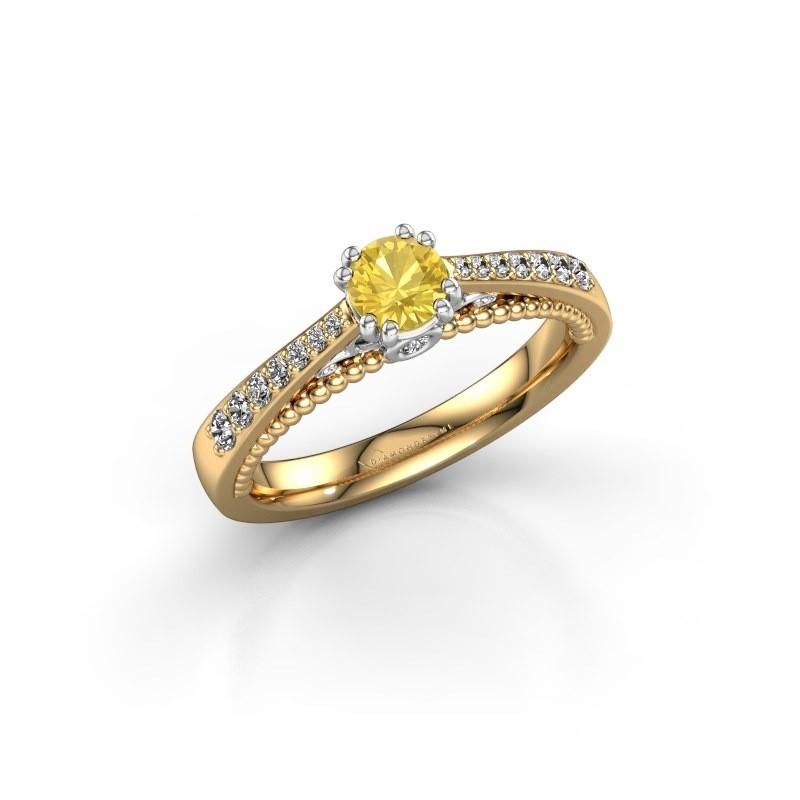 Verlovingsring Rozella 585 goud gele saffier 4.2 mm