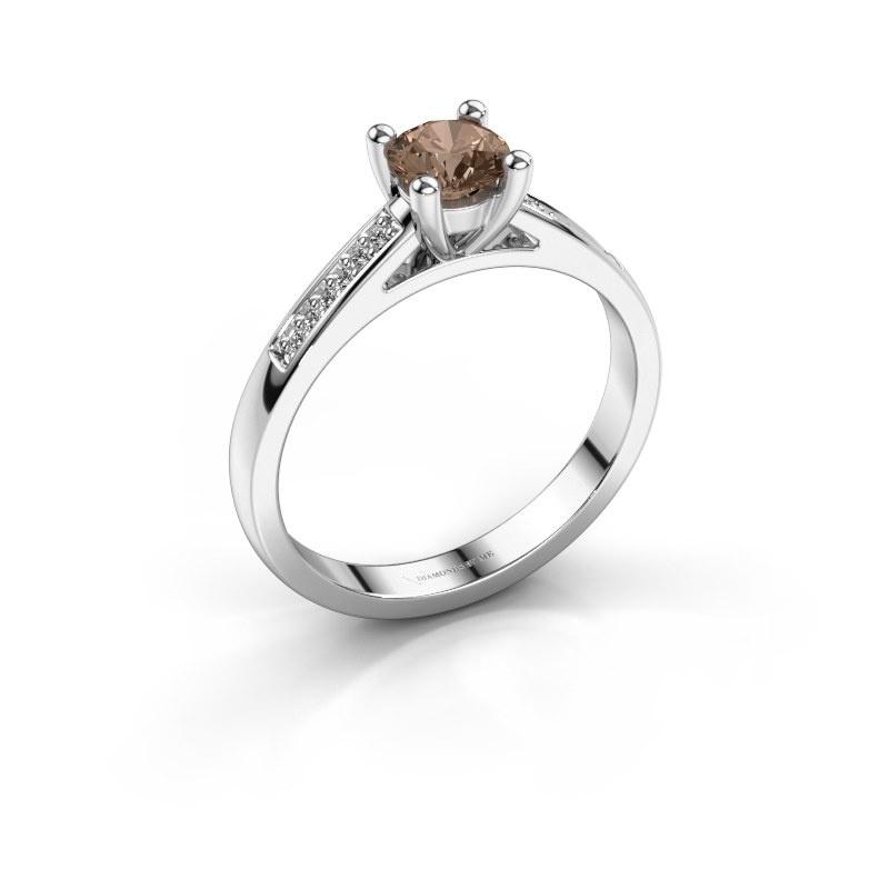 Bague de fiançailles Nynke 925 argent diamant brun 0.46 crt