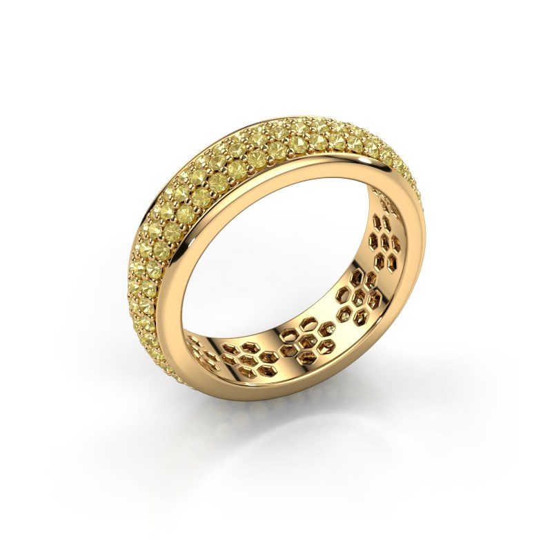 Ring Tara 585 goud gele saffier 1.3 mm