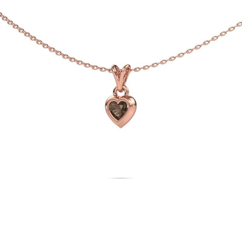 Hanger Charlotte Heart 375 rosé goud rookkwarts 4 mm