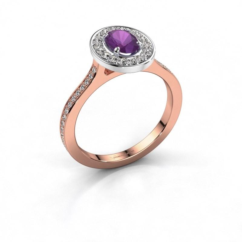 Ring Madelon 2 585 rosé goud amethist 7x5 mm