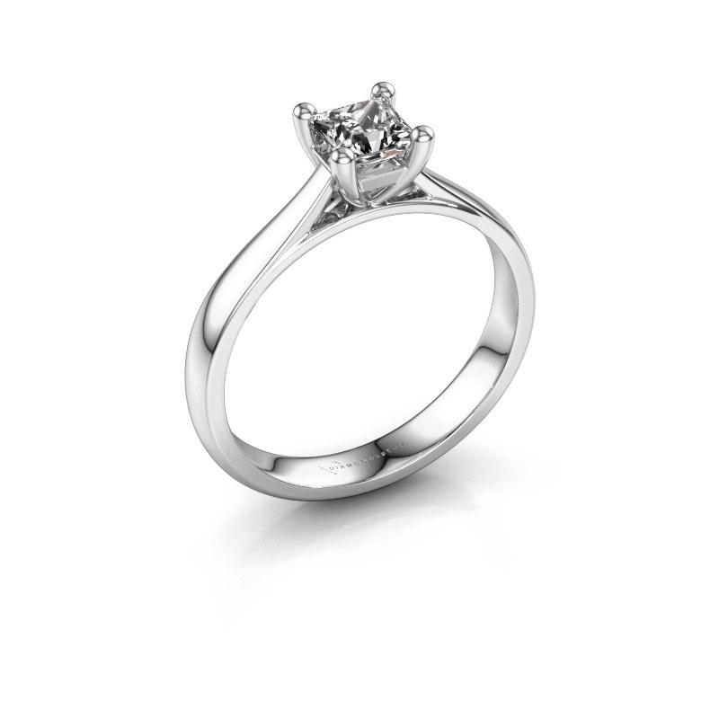 Bague de fiançailles Sam Square 585 or blanc diamant 0.50 crt