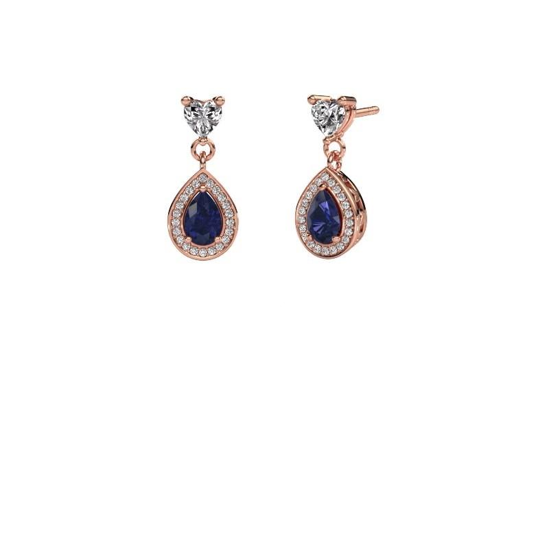 Drop earrings Susannah 375 rose gold sapphire 6x4 mm
