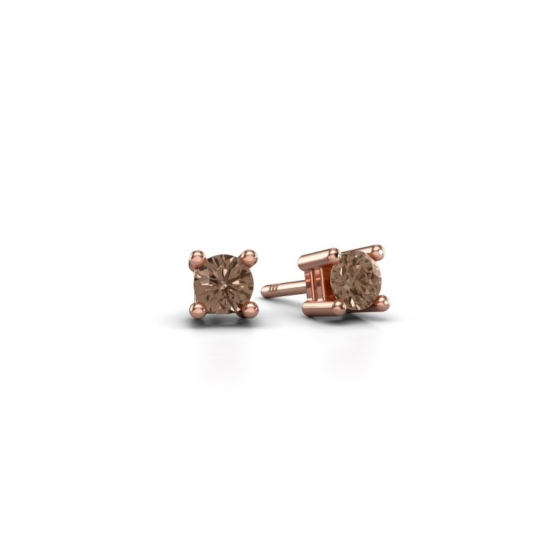 Oorknopjes Eline 375 rosé goud bruine diamant 0.25 crt